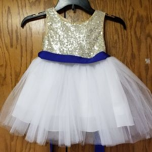 Girls flower girl dress gold and blue